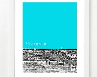 Florence Alabama Skyline Poster - Florence AL City Art Print - Unique Dorm Art