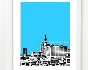 Hartford Skyline Poster - Hartford Art Print - Hartford Connecticut City Skyline Poster-