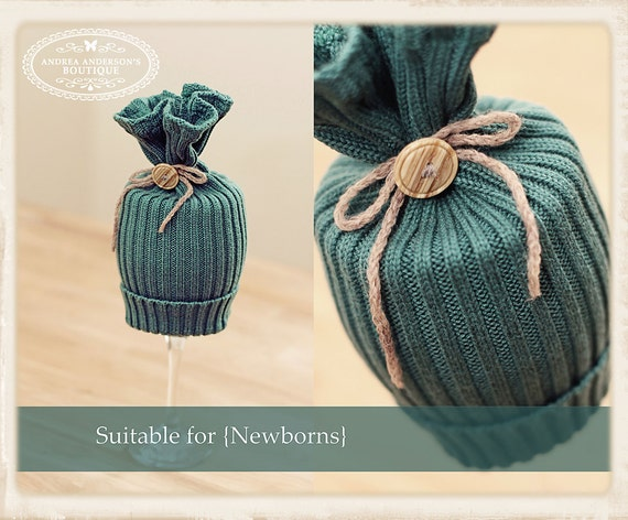 Newborn Girl's Designer up-cycled tulip, sack beanie hat embellished with a button & a yarn bow.  Photography prop.