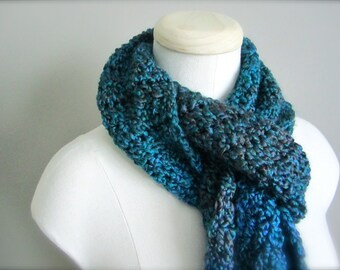 Crochet Blue Turquoise, Teal, Deep Purple Classic Fringe Handmade Scarf, Women's Scarf, Men's Scarf, Unisex Scarf