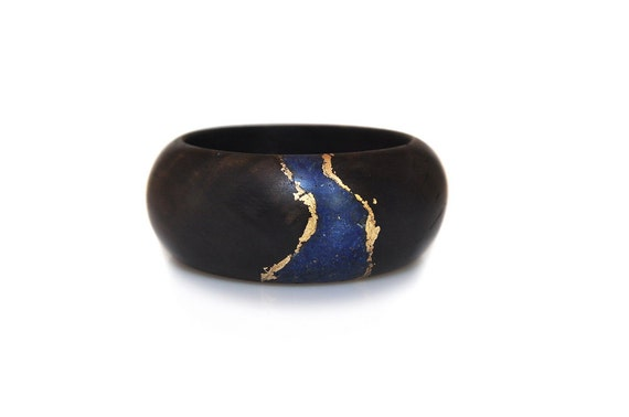 Sale - 20% off  Wood Bracelet with Deep Blue Lapis, Gold Leaf and Black Olivewood - Evening Elegance