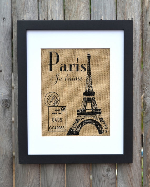 paris je t 39 aime burlap print french wall decor by fiberandwater
