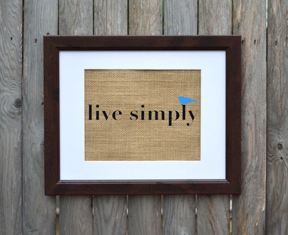 Live simply burlap wall art bird print burlap by fiberandwater for Live simply wall art