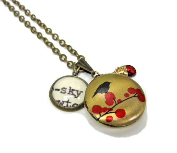 Bird on Branch Painted Locket with Fine AAA Grade Garnet January Birthstone Sky Word Mini Pendant Library Necklace