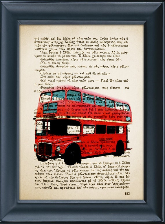 Vintage Book Print - Double Decker London Bus - Book Page Print - Mixed Media Art - Upcycled Book page - 8.0x5.5in (A5)