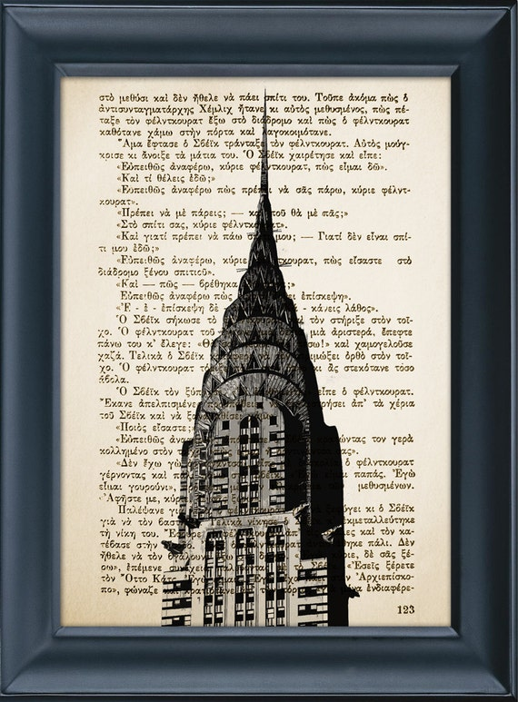 Chrysler Building, New York - Vintage Book Page Architecture Print - Literature Print - Home Office Wall Decor - Perfect Gift - 8.0x5.5in