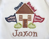 Personalized, appliqued house divided  tshirt or onesie.