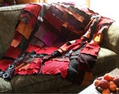 RESERVED LISTING.....Bright patchwork Reconstructed sweater afghan blanket throw