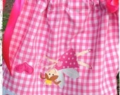 """Girls Handmade Pillowcase Dress Size 2 Pink Gingham and Country Rose Trim - Upside Down Fairy Design """"for you to see while wearing me""""."""