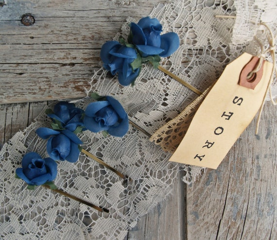 Blue Millinery Flower Bobby Pins / Boho / Romantic / Chic / Hair Accessory / Flower Bobby Pins / Gift For Her / Hair Flowers / Flower Crown