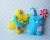 Bunny and bear hand sewn mini cute felt plush dolls