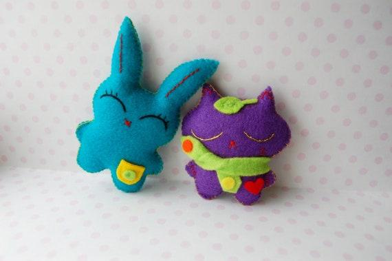 Bunny and kitten hand sewn mini cute felt plush dolls