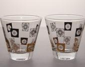 SALE Mad Men Style Black and Gold Shot Glass (Set of 2) ANTIQUE/VINTAGE