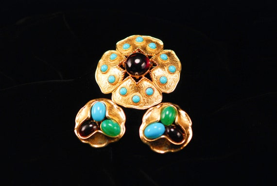 Jomaz Brooch and Earrings - Turquoise, Amethyst & Jade