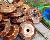 "Large 24mm Faceted Disc Focal Beads - 9 Beads - ""Antique"" Acrylic Bead"