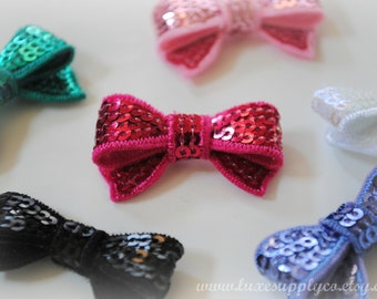 "Mini Sequin Bow Appliques 1.4"" - Your Choice of 16 Colors! You choose a set of 5, 10, 25, or 50 - Wholesale Discounts - Tiny Sparkle Bows"