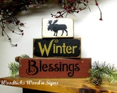 Wood Winter Signs Set of 3 Stackable / Winter Blessings