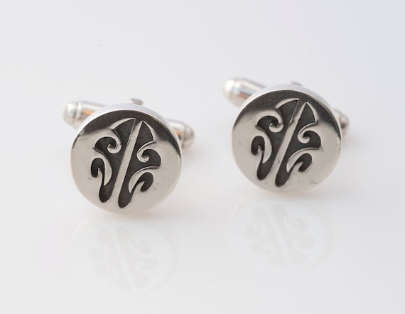 HONU Modern Tribal Cufflinks. Sterling Silver WITHOUT gemstones