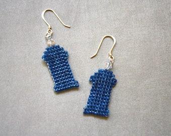 Beaded TARDIS earrings