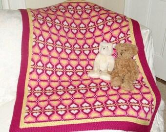Knitting Pattern-Sweetheart Baby Blanket, knit Fair Isle baby blanket pattern, infant, toddler, Cascade 220, baby shower, PDF pattern
