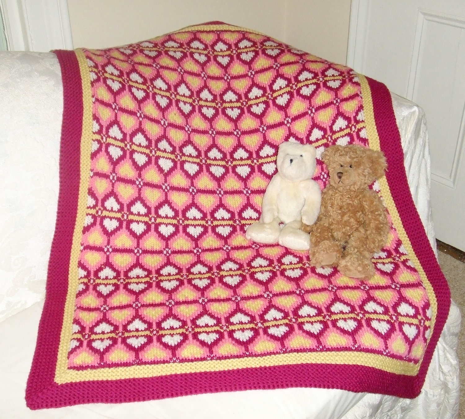 Knitted Baskets Free Patterns : Knitting Pattern-Sweetheart Baby Blanket knit Fair Isle baby