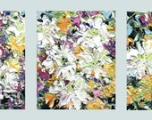 Fresh Flowers Triptych No.21, oil painting, three 8x10 inches canvases