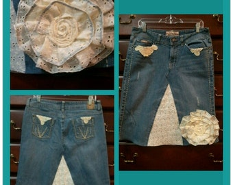 Vintage Jean skirt with a removable flower