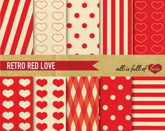 Valentines Paper RED Digital Paper Pack RETRO Scrapbooking Pattern Printable Background Paper Valentines graphics Red Heart Paper