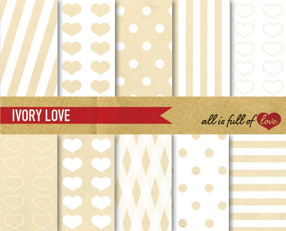 Digital Scrapbooking Paper Pack Vintage Paper IVORY LOVE Size A4 Background Valentines Graphics Instant Download Valentine Paper