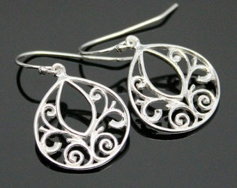 Sterling Silver FILIGREE Earrings, Silver Teardrop Filigree Earrings, Oriental Filigree Earrings.