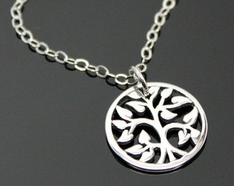 TREE of Life Necklace, Family Tree Necklace, Silver Tree Necklace, Mother and Kids, STERLING SILVER.
