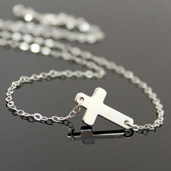 SIDEWAYS Cross Necklace, Sterling Silver Cross Necklace, Cross Pendant.