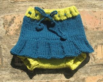 Medium Handknit Diaper Cover Wool Soaker Skirty
