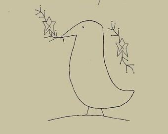 "Primitive Stitchery E-Pattern, ""Olde Country Crow."""