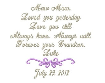 Grandmother Handkerchief -Hankie - Hanky - Loved you YESTERDAY, Love you STILL - FOREVER your GrandSON - Wedding - Bridal