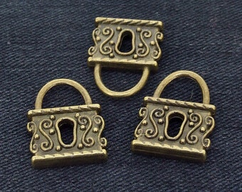 6 Charm Chinese Lock bronze Plated Victorian Pendants Link Beads ----- 17mmx 24mm ----- 6Pieces 2F