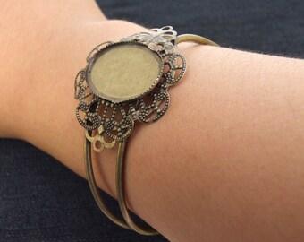 Charm Oval gemstone bead Flower One Bracelet Base bronze  Plated Victorian brangle Beads ----- 35mmx70mm ----- One Piece 2A