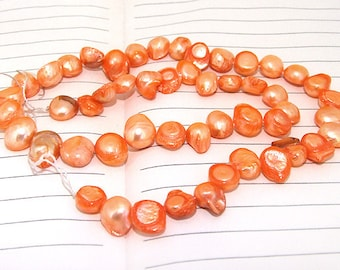 One Full Strand--- Orange Dancing Pure Freshwater Pearl----9mm-10mm----over 45Pieces----15 inch strand