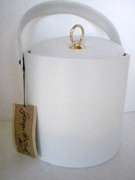 Vintage Ice Bucket, 1960 George Briard, White Faux Leather