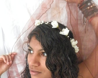 White delphinium floral buds with white pip berries floral wedding hair crown garland wreath
