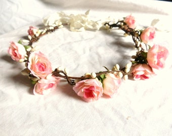 Woodland flower floral crown hair wreath (pink rose) - Wedding headpiece, headband, vintage inspired rose crown