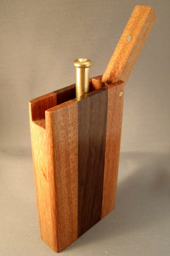 Wood dugout single hit smoking pipe with bat.  DG19a