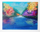 SALE - Colorful Abstract Landscape Painting FREE Shipping River Water Nature Lover Gift Wall Decor, Home Decor Original Acrylic Bold Colours