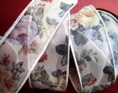 """Romantic Wired Floral Ribbon Trim, Multi / Sheer, 1 3/8"""" inch wide, 1 yard For For Gift Packing, Wreaths, Center Pieces, Home Decor, Wreaths"""