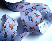 "Gardening Pots And Dots Cotton Ribbon Trim, Multi Color / Lavender, 1 3/8"" inch wide, 1 yard, For Victorian & Romantic Crafts"
