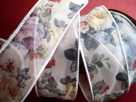 "Romantic Wired Floral Ribbon Trim, Multi / Sheer, 1 3/8"" inch wide, 1 yard For For Gift Packing, Wreaths, Center Pieces, Home Decor, Wreaths"
