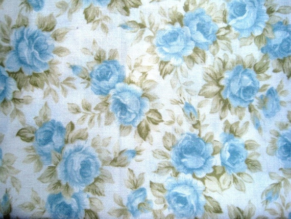 "Shabby Aqua Roses Fabric, Fat Quarter, Multicolor / White, 18"" X 22"" inches, 100% Cotton, For Victorian & Romantic Projects"