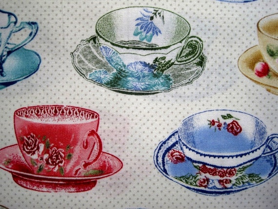 "Tea Party Cups Fabric, Fat Quarter,  Multicolor / Cream, 18"" X 22"" inches, 100% Cotton, For Victorian & Romantic Projects"