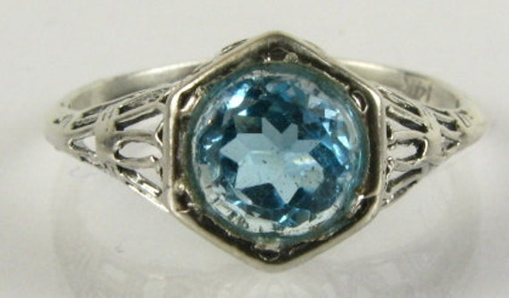 Victorian Blue Topaz and Silver Ring
