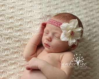 Dusty Rose and Ivory Silk Baby Flower Headband, Newborn Headband, Baby girl flower headband, Photography Prop